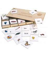 Rebusy obrazkowe w drewnianym pudełku